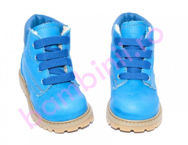 Ghete copii cu blana pj shoes Luca blu ciel 20-26