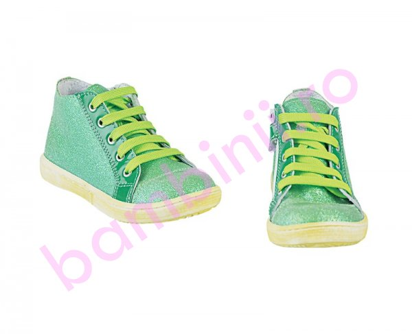 Ghete copii PJ Shoes Rocky verde glitter