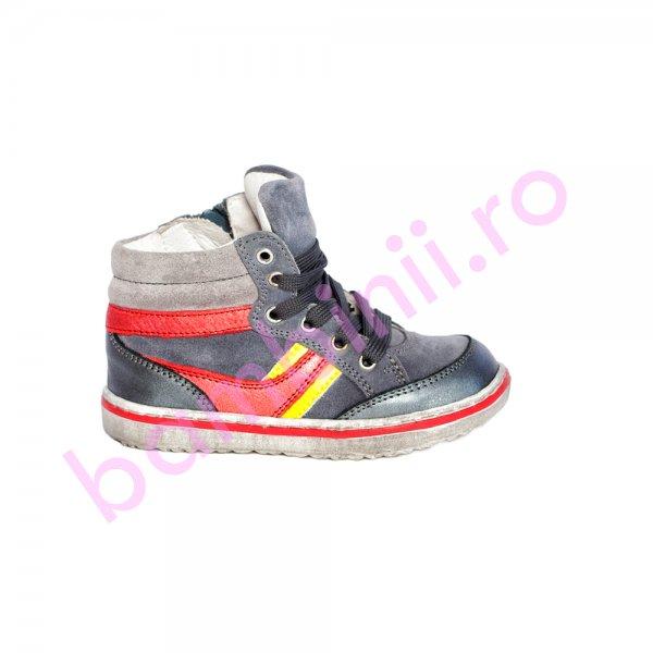 Ghete copii piele pj shoes Kid gri rosu 20-26