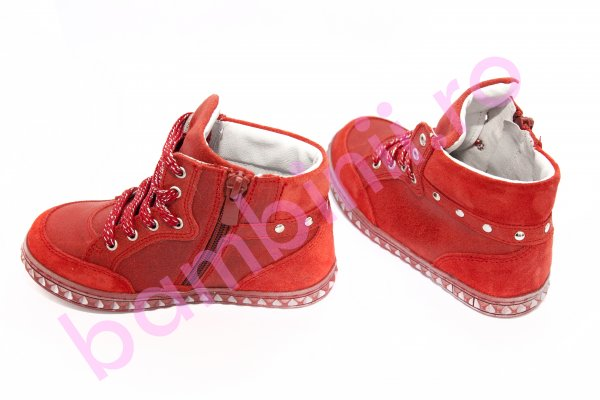 Ghete copii piele pj shoes Kidda rosu 27-36