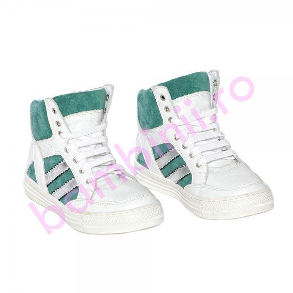 Ghete copii pj shoes Box alb verde 31-38