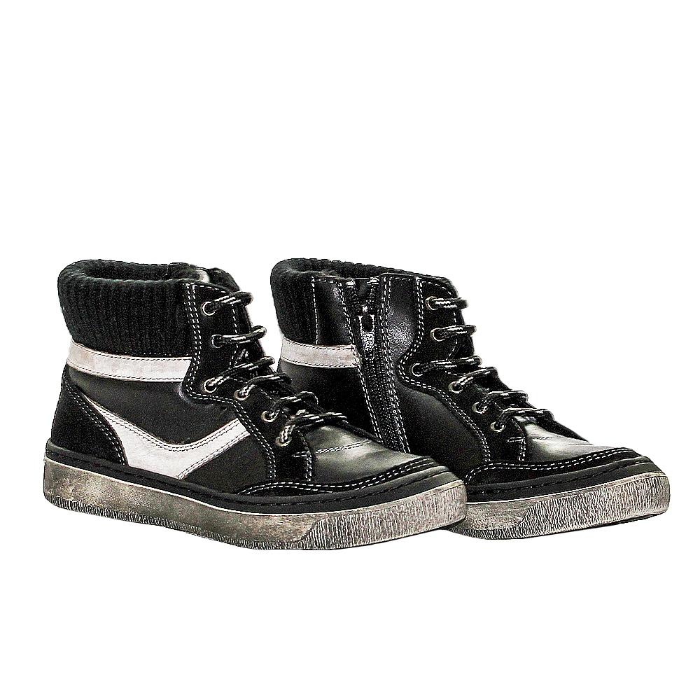 Ghete copii cu blanita pj shoes Kiddo negru arg 27-37