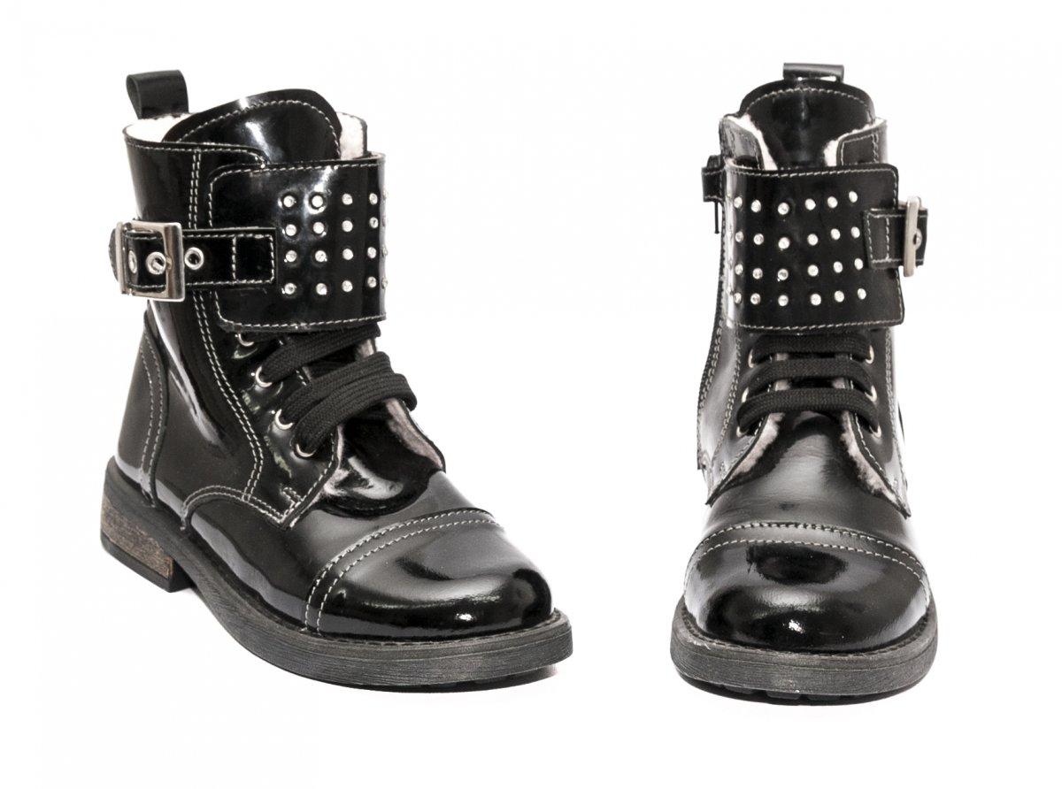 Ghete fete blana pj shoes Army negru lac 31-36