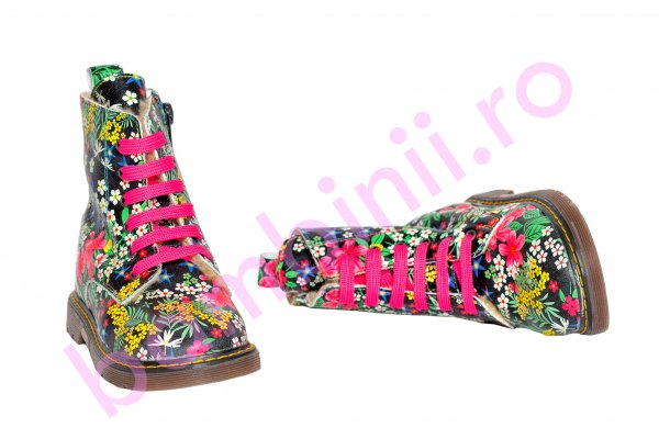 Ghete fete blana pj shoes King print fuxia 27-36