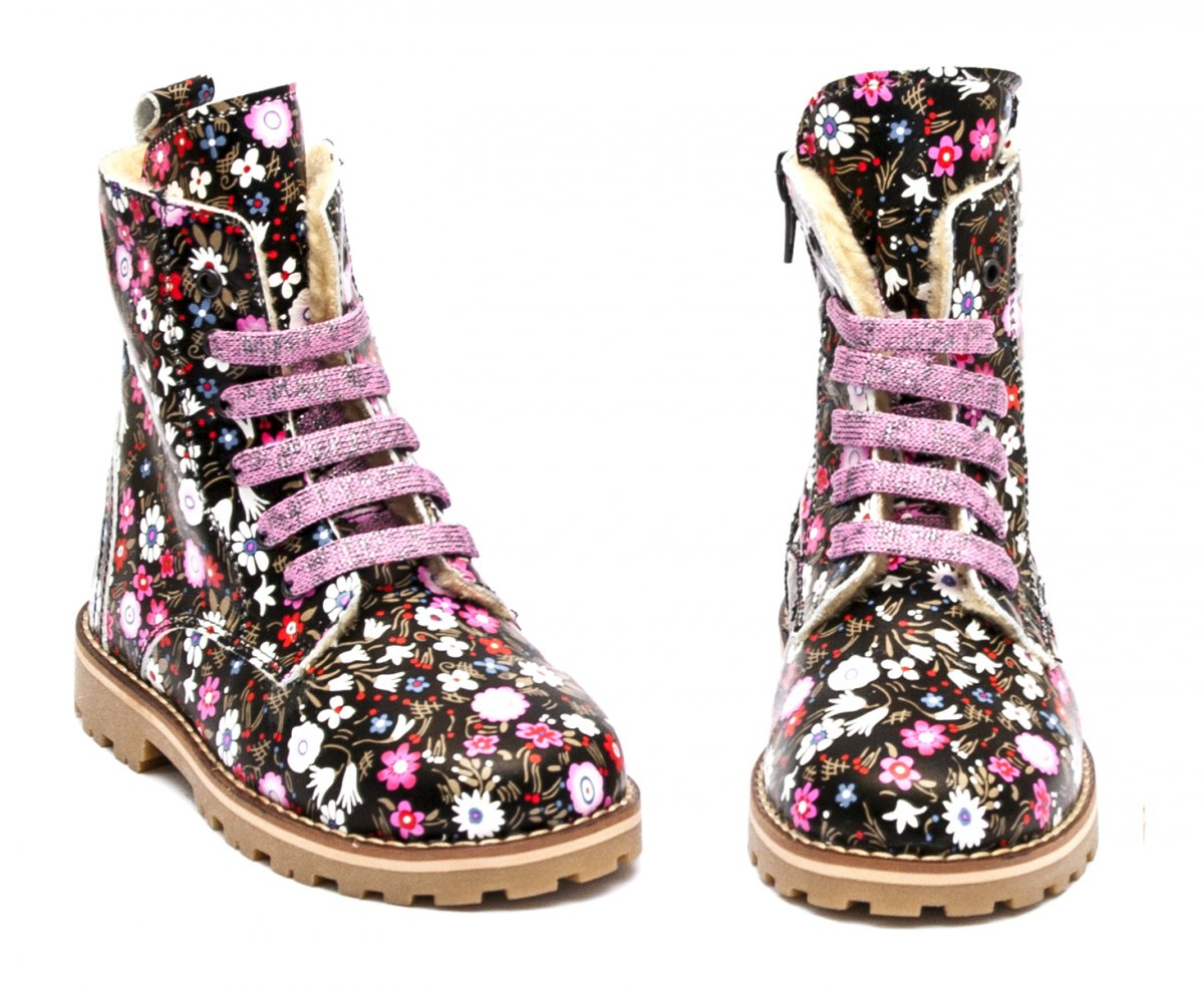 Ghete fete cu blana pj shoes King flori roz 27-36