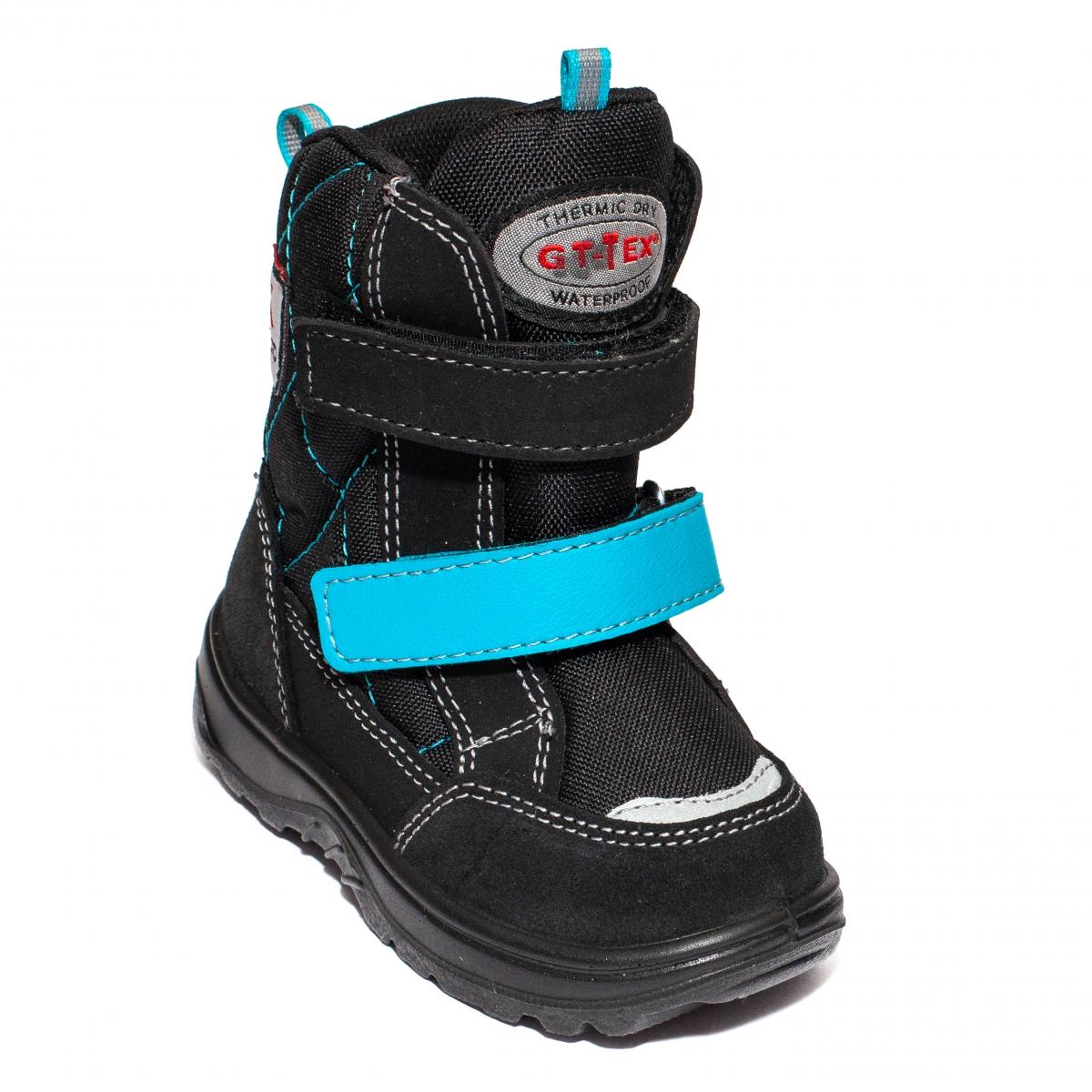 Ghete impermeabile copii blana GT tex 93311 negru turcoaz 20-25