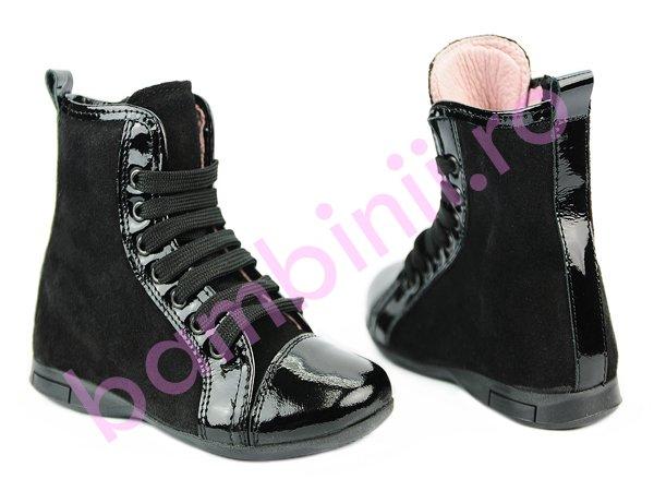 Ghete piele copii Pj Shoes Mona negru 26-38