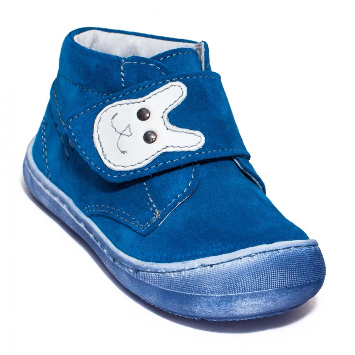 Ghetute baieti cu talpa flexibila pj shoes Teddy blu velur 18-25