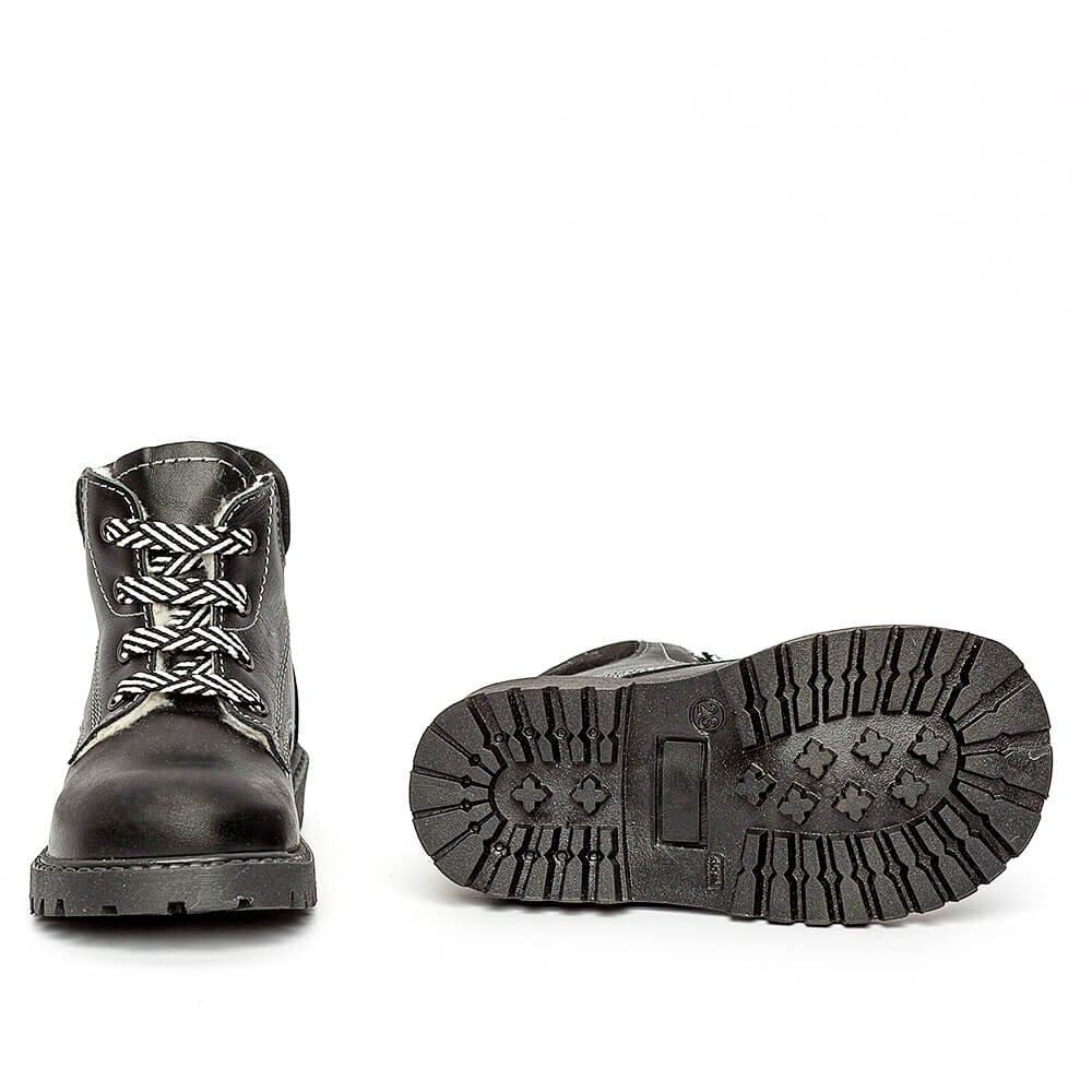 Ghetute copii cu blana pj shoes Luca negru 20-26