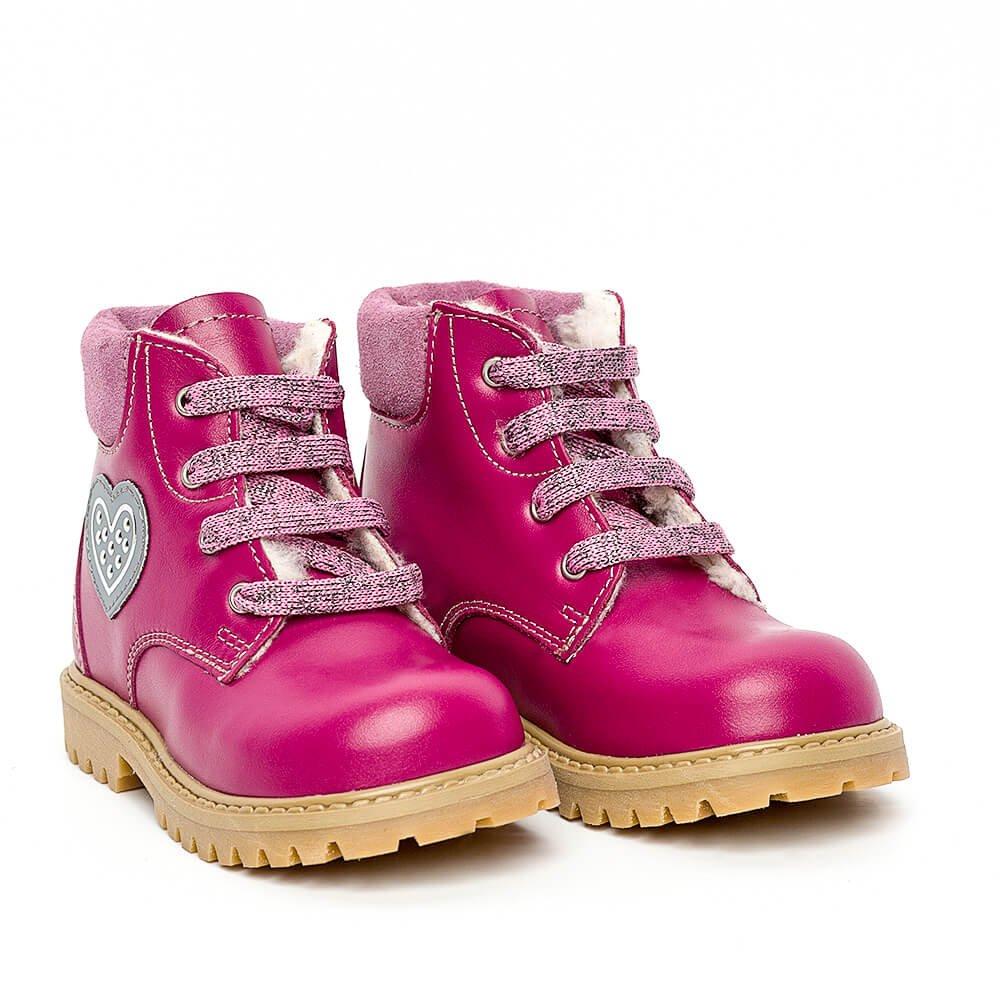 Ghetute fete cu blana pj shoes Luca fuxia 20-26