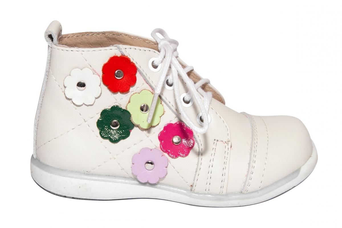 Ghetute fete piele 1325 alb unt flori colorate 18-24