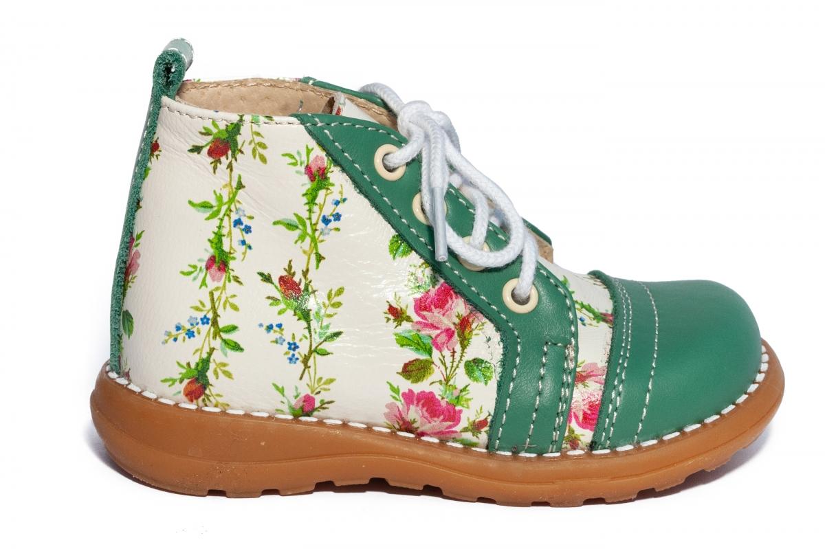 Ghetute fetite cu talonet 1325 alb flori verde 18-25