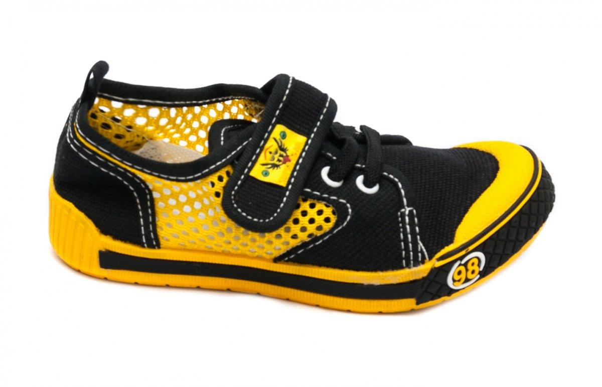 Incaltaminte baieti textil cu gaurele 9912 negru galben 26-35