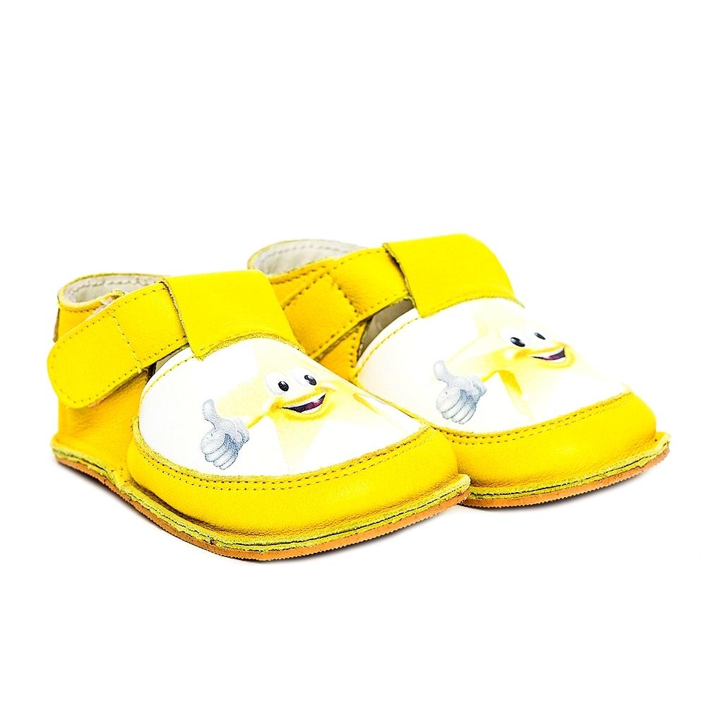 Incaltaminte copii cu talpa foarte moale Woc 003 galben stea 18-25