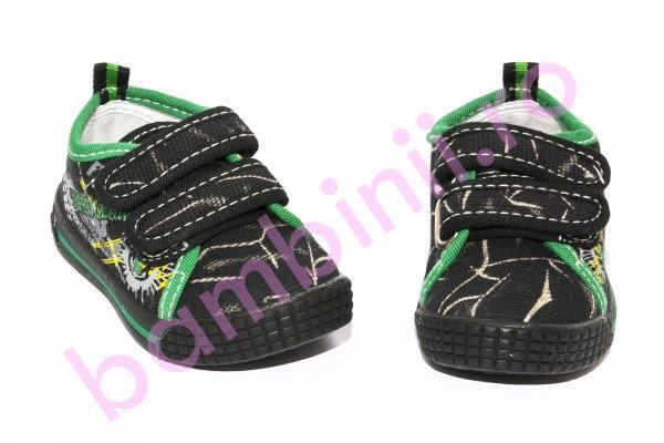 Incaltaminte copii textil 9583 negru verde 20-25