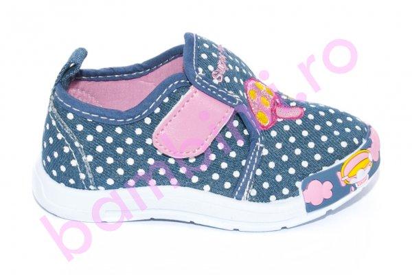 Incaltaminte fete textil 987 blue roz 20-25