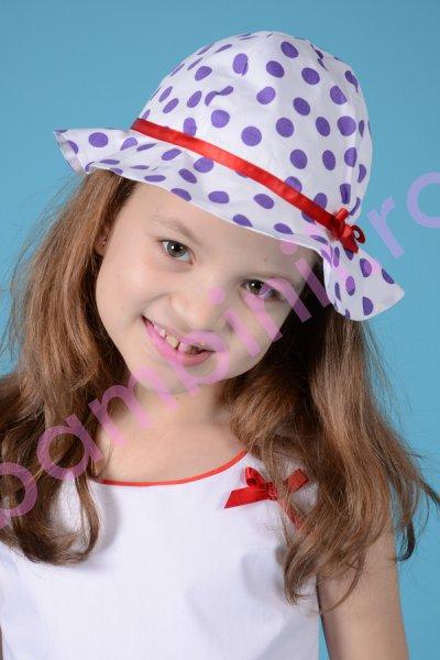 Palarii fete 311 alba cu buline mov
