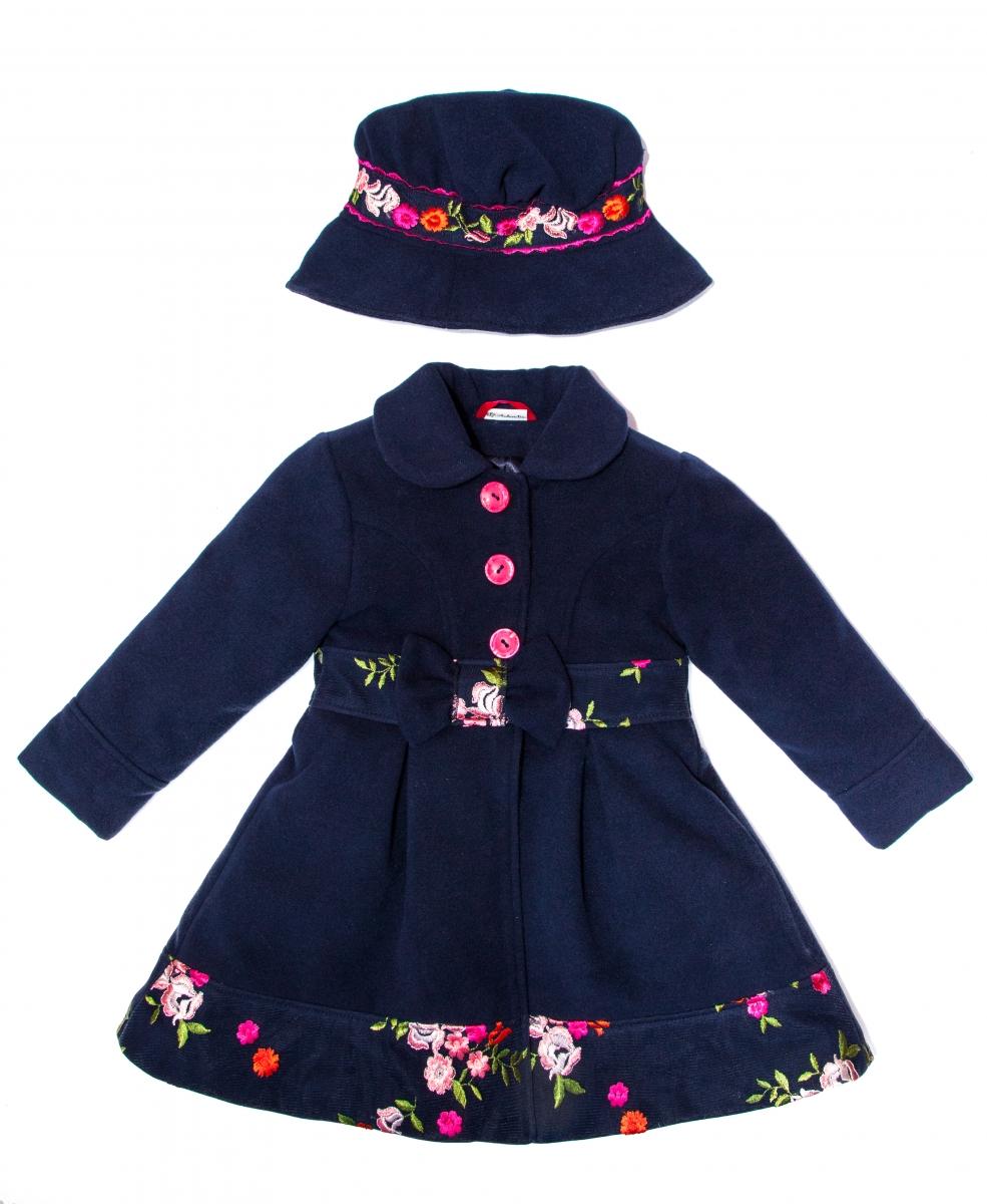 Paltoane fete cu palarie Andreea blu flori 1an-9ani