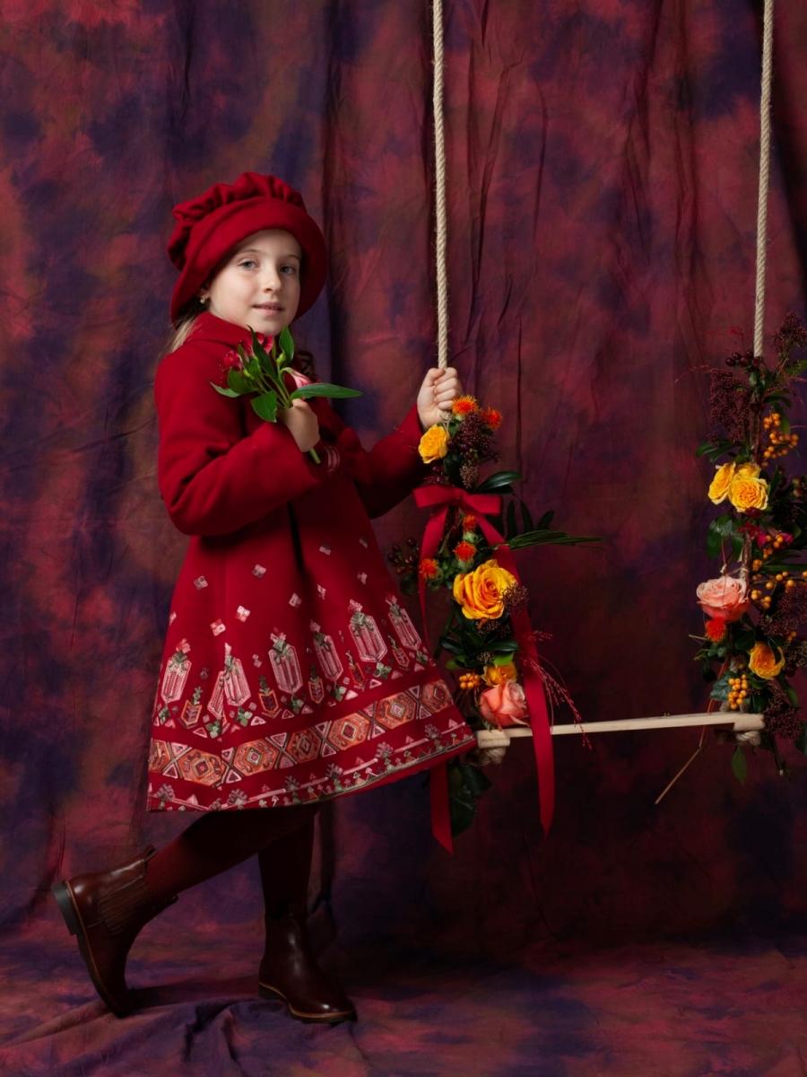 Paltoane fete cu palarie brodat Andreea tex rosu grena 1an-10ani