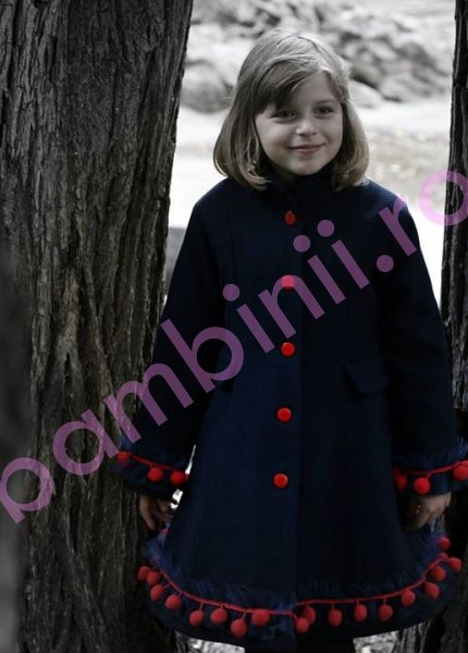 Paltoane fete de iarna 775 bleumarin 6-10ani