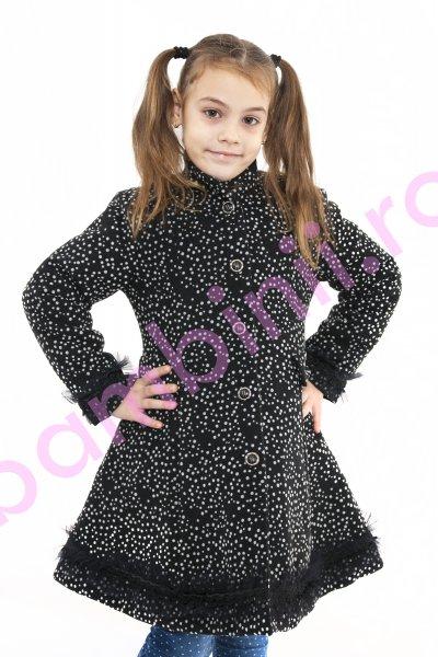 Paltoane fete de iarna 775 negru buline 6-10ani