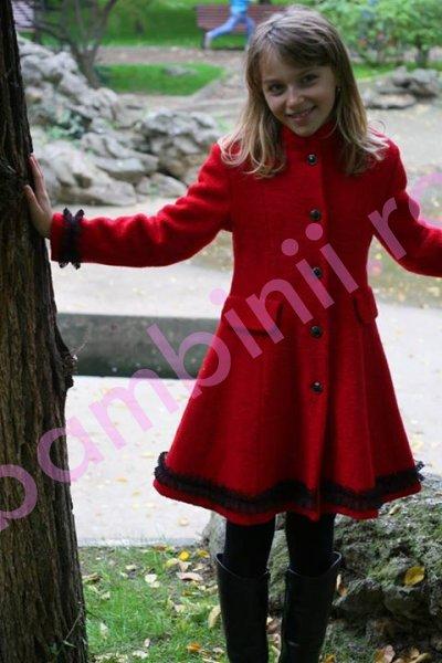 Paltoane fete de iarna 775 rosu 6-10ani