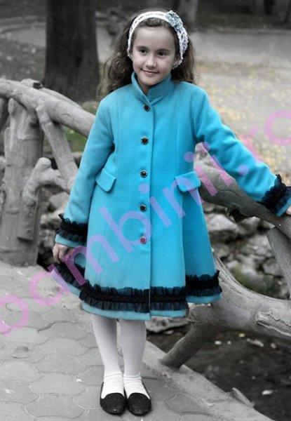 Paltoane fete de iarna 775 turcoaz 6-10ani