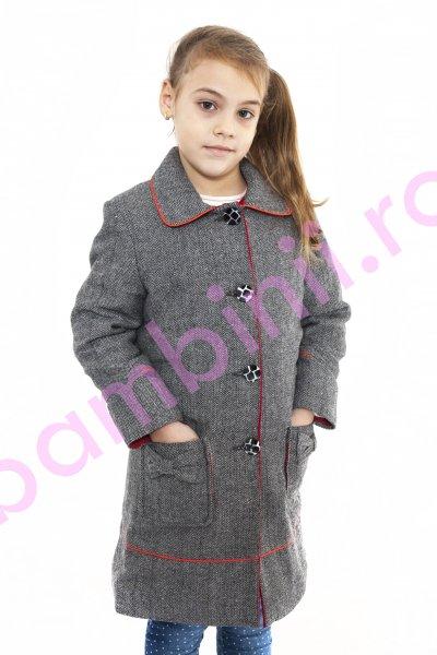 Paltoane fete din stofa cu buzunare aplicate 811 gri 4-12ani