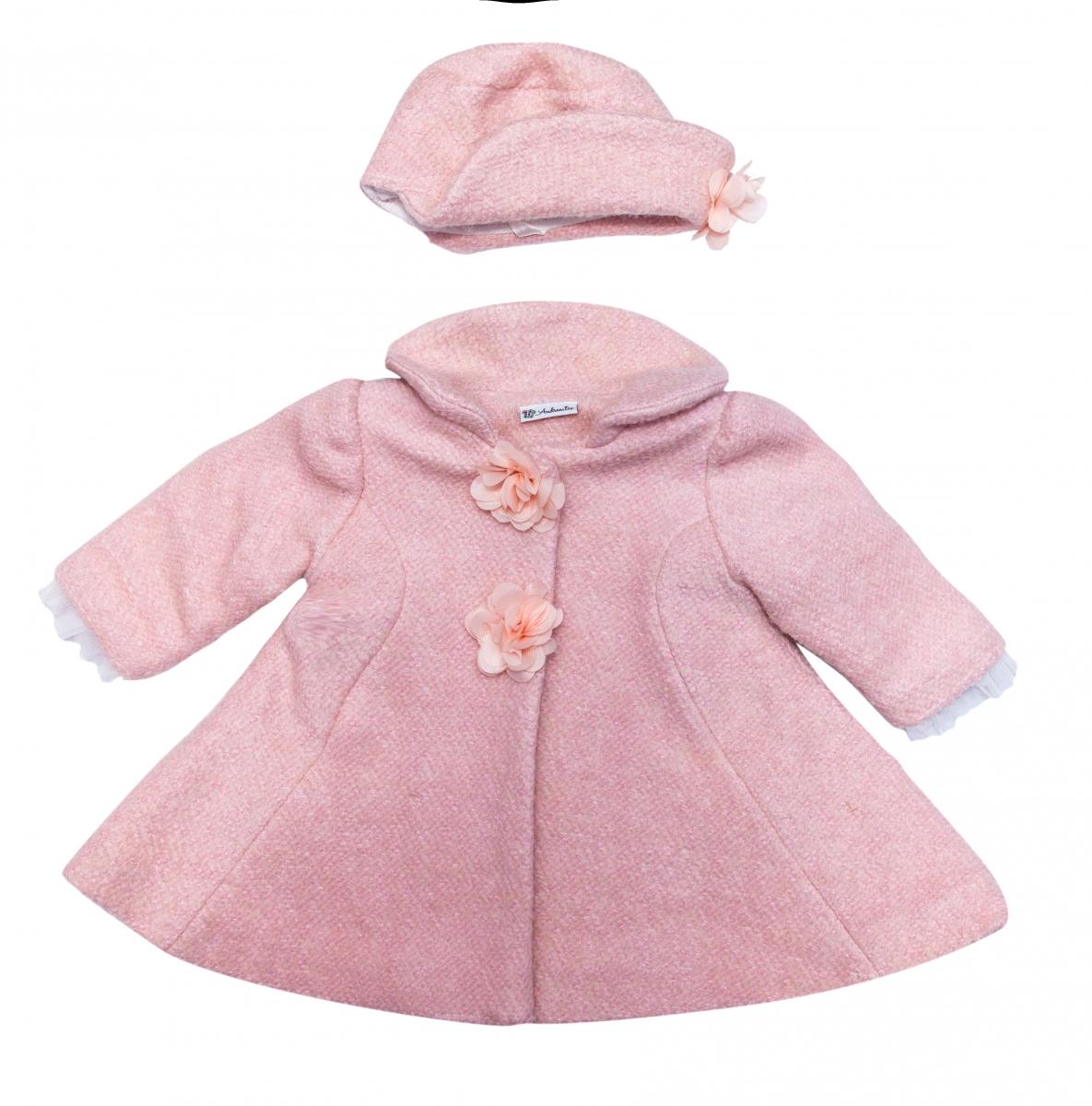 Palton fete cu palarie Sissy roz 3-9luni