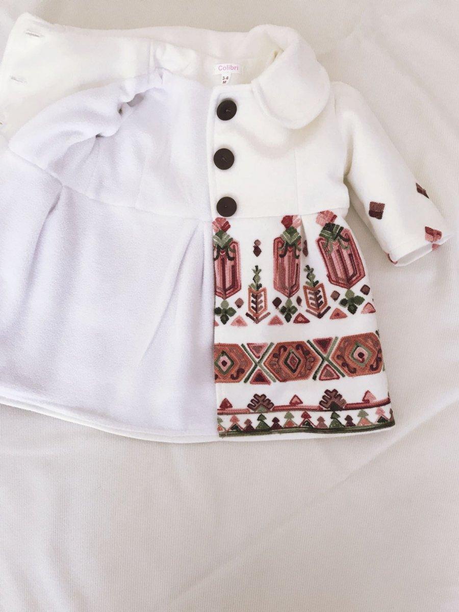 Paltone fete brodat Delia alb 3luni-12ani