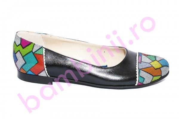 Pantofi balerini copii piele 026A negru pazel 34-41