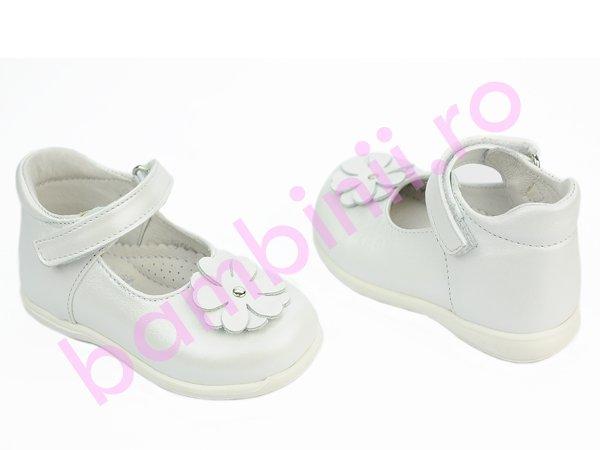 Pantofi balerini copii piele 232 alb