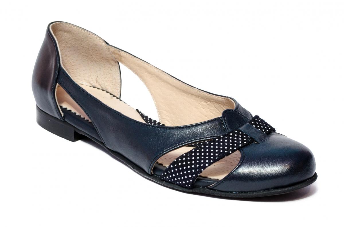 Pantofi balerini dama decupati din piele 026D blu pipit 34-41