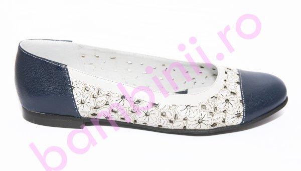 Pantofi balerini dama perforati laser 026 blu alb 34-41