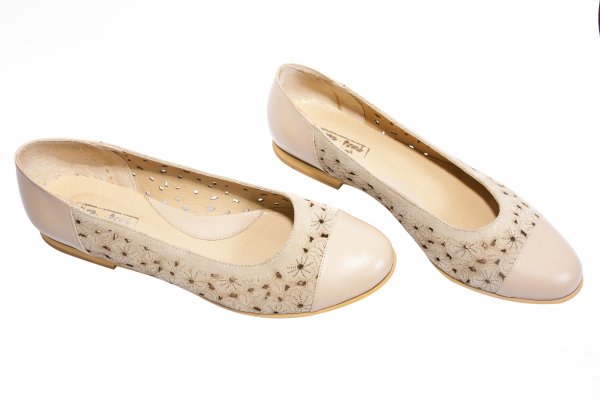 Pantofi balerini dama perforati laser 26 bej 34-41