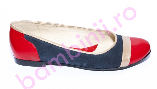 Pantofi balerini dama piele 026.4 rosu bej blu 34-41