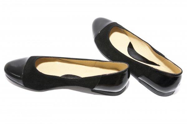 Pantofi balerini dama piele intoarsa 26 negru lac 34-41