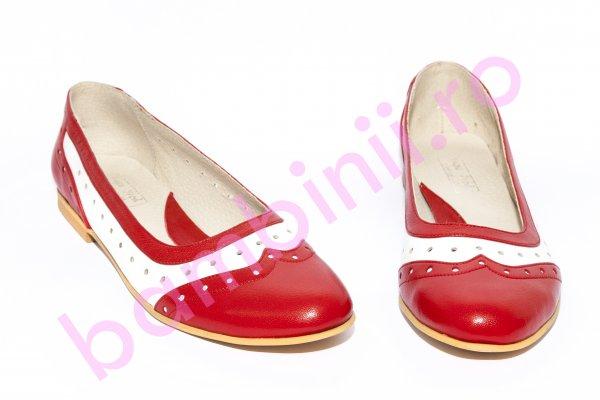 Pantofi balerini fete 026.5 rosu alb 34-41