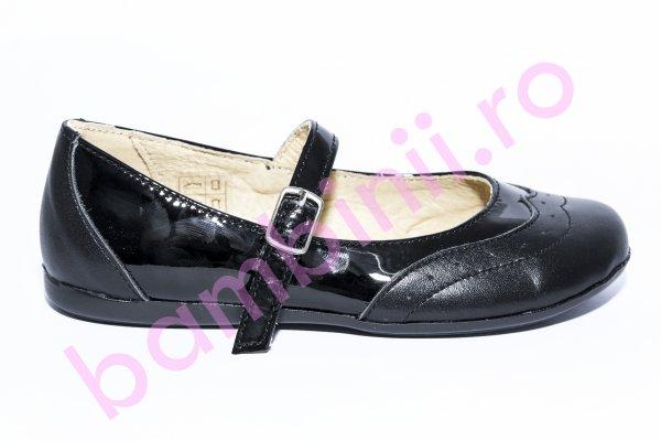 Pantofi balerini fete 1327 negru lac 26-36