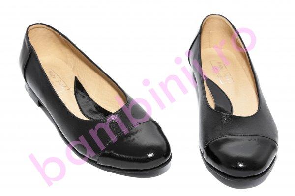 Pantofi balerini fete 26 negru box lac 34-41
