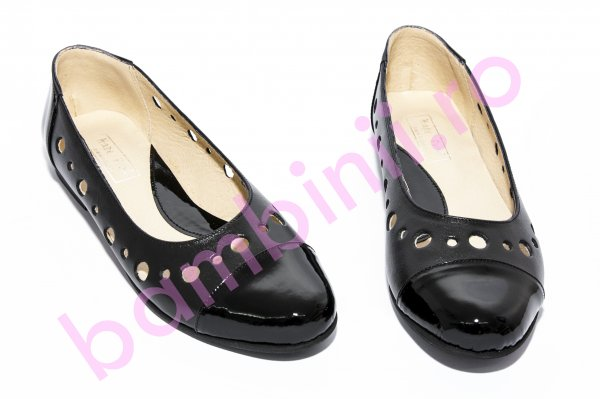 Pantofi balerini fete 26 negru box lac perforat 34-41
