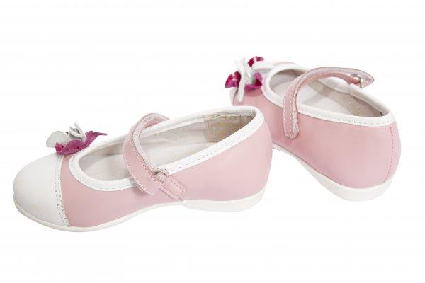 Pantofi balerini fete 304 roz alb