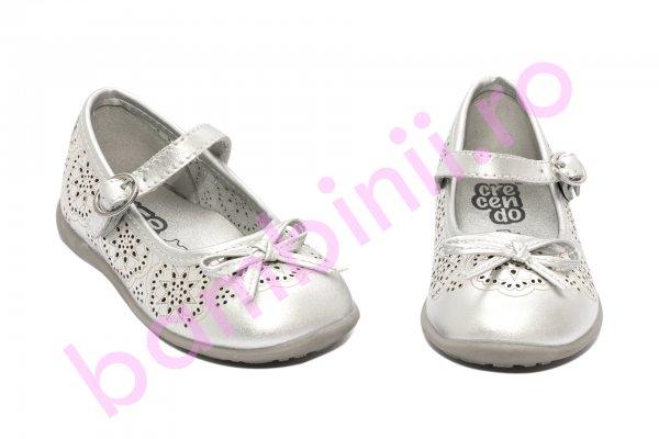 Pantofi balerini fete Crecendo 706 argintiu 20-29