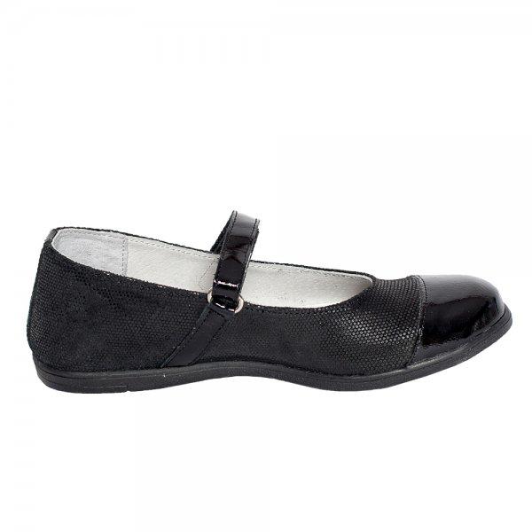 Pantofi balerini fete Pj Shoes Cherry negru 2 croco 31-36