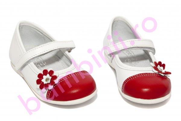 Pantofi balerini fete hokide 304 alb rosu 22-27