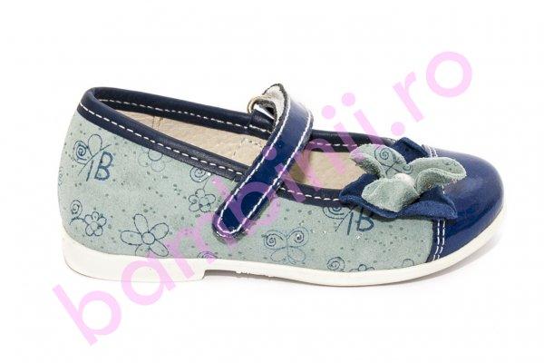 Pantofi balerini fete hokide 304 blue blu lac floare 22-27