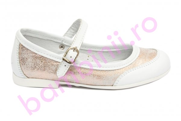 Pantofi balerini fete hokide 383 alb roz sidef 26-36
