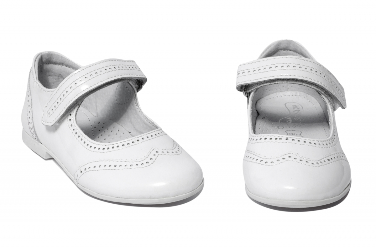 Pantofi balerini fete hokide 420 alb lac 26-35