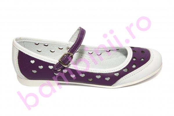 Pantofi balerini fete hokide perforati 383 alb mov 26-36