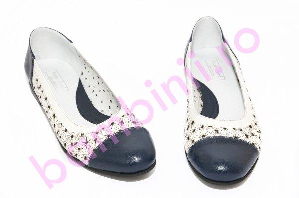 Pantofi balerini fete perforati laser 026 blu alb 34-41